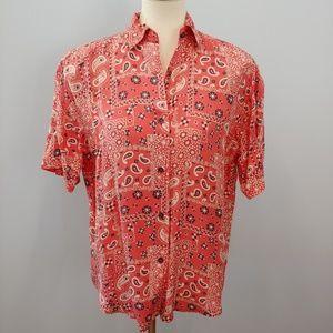 VINTAGE RED Bandana Print 100% Silk Shirt Red Smal